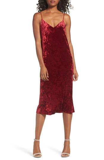 Women's Nsr Velvet Midi Slipdress, Size Small - Burgundy