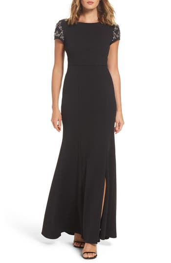Adrianna Papell Embellished Crepe Gown, Black