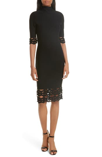 Milly Cutout Detail Sheath Dress, Size Petite - Black