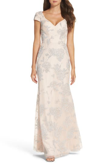 Hayley Paige Occasions Beaded Trumpet Gown, Beige