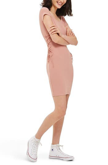 Topshop Lace-Up Side Body-Con Dress, US (fits like 0-2) - Pink