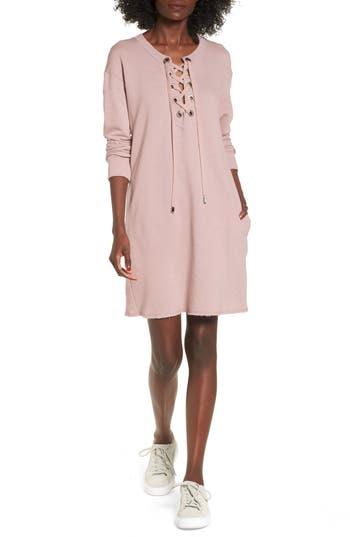 Socialite Lace-Up Sweatshirt Dress, Pink