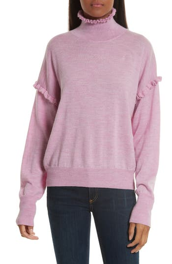 Rebecca Taylor Turtleneck Merino Wool Sweater, Pink