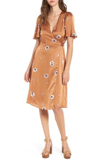 Astr The Label Fiona Wrap Dress, Brown
