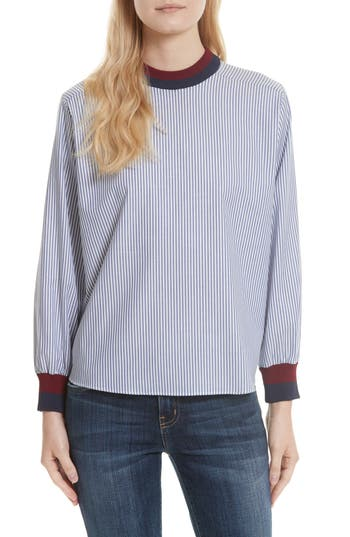 Kule The Harper Stripe Cotton Poplin Shirt, Blue