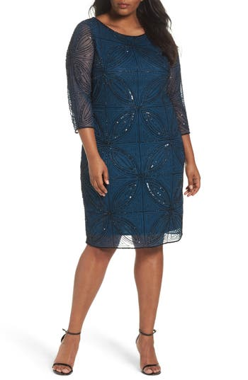 Plus Size Pisarro Nights Embellished Sheath Dress, Blue