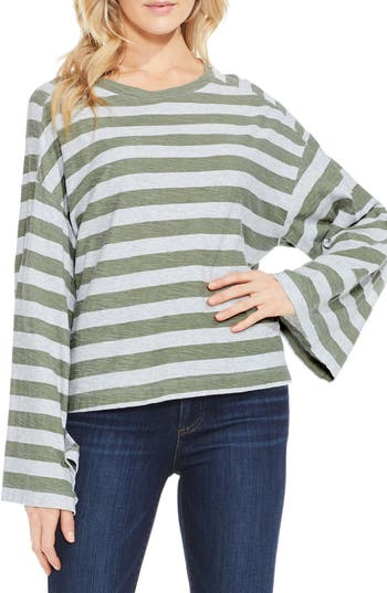 Two By Vince Camuto Lydia Stripe Tee, Green