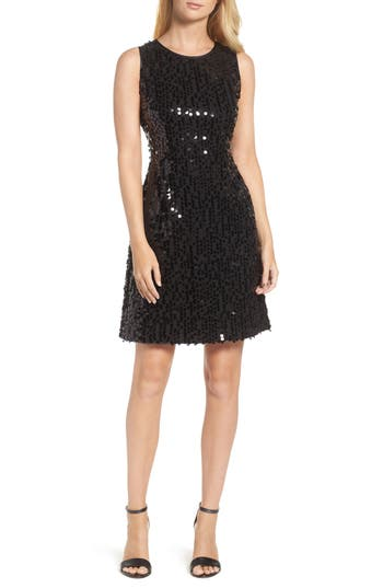 Taylor Dresses Sequin A-Line Dress, Black
