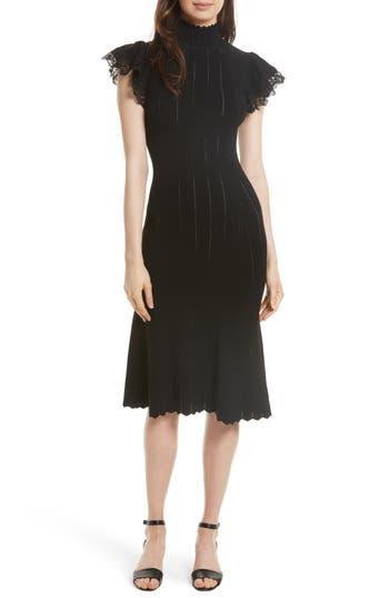 Rebecca Taylor Pointelle Knit Dress, Black