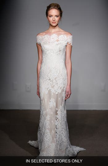 Anna Maier Couture Gabrielle Off-The-Shoulder Corded Lace Gown