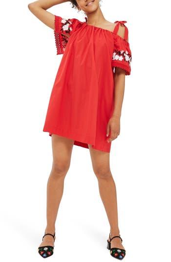 Topshop Embroidered Cold Shoulder Dress, US (fits like 2-4) - Red