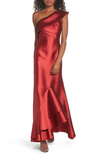 Sachin & Babi Noir Olive One-Shoulder Gown, Red