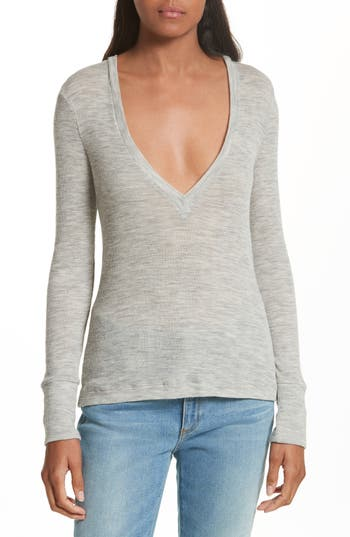 T By Alexander Wang Sheer Wool Sweater, Grey