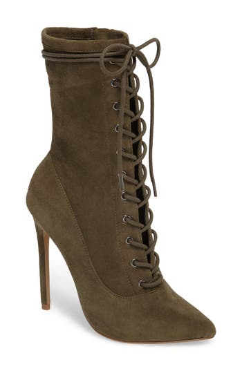 Steve Madden Satisfied Corset-Lace Bootie, Green