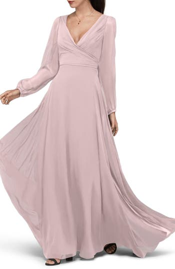 Watters Donna Luxe Chiffon Surplice A-Line Gown, Pink