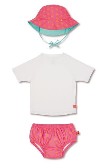 Infant Lassig Two-Piece Rashguard Swimsuit & Hat Set, Size 6M - Coral