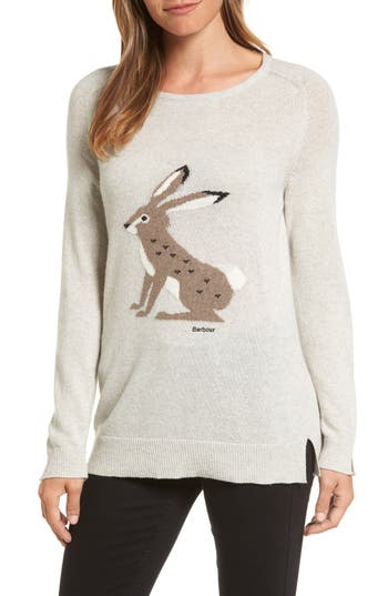 Barbour Intarsia Hare Wool Blend Sweater, US / 12 UK - Grey