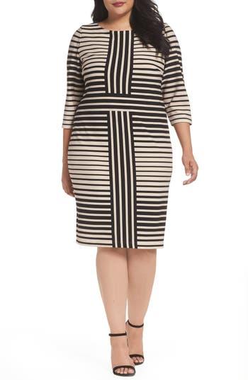 Plus Size Gabby Skye Stripe Knit Sheath Dress, Beige