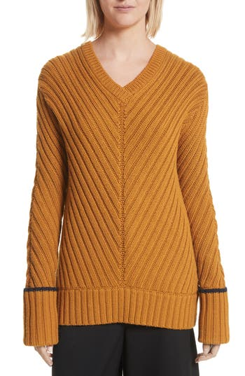 Grey Jason Wu Rib Knit Wool Blend Sweater, Blue