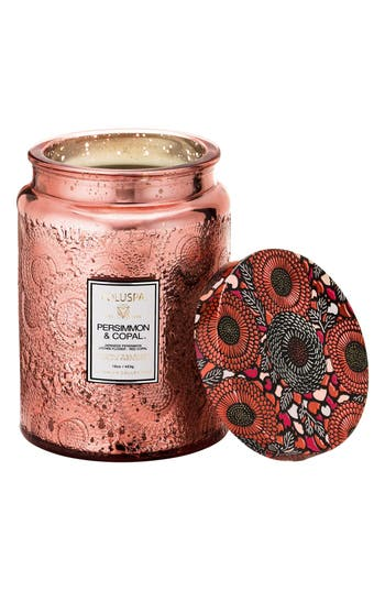 Voluspa Japonica - Persimmon & Copal Large Embossed Jar Candle, Size One Size - Pink