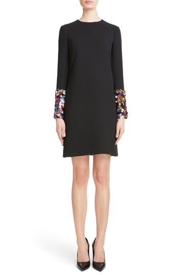 Victoria, Victoria Beckham Embellished Cuff Shift Dress, Black