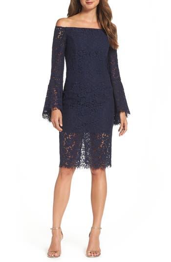 Bardot Solange Corded Lace Sheath Dress, Blue