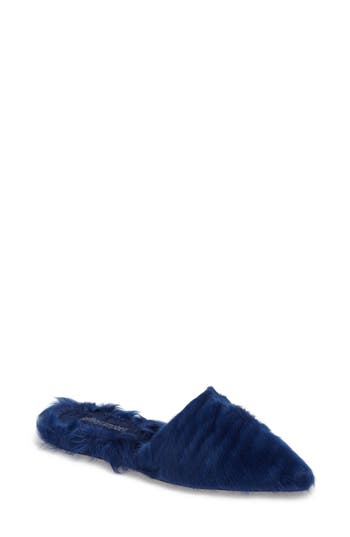 Jeffrey Campbell Indra Genuine Shearling Mule- Blue