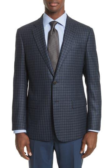 Emporio Armani Trim Fit Check Silk & Wool Sport Coat, 0 R EU - Blue