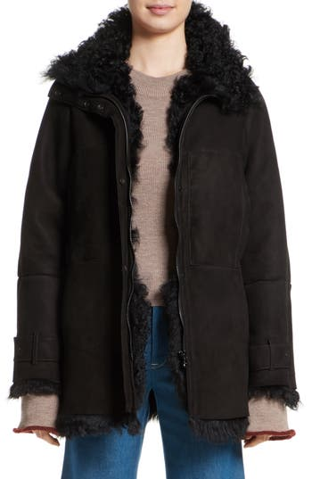 Colovos Reversible Genuine Shearling Coat, Black