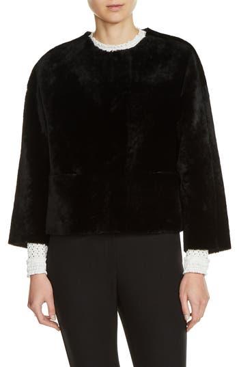 Maje Reversible Genuine Shearling & Leather Jacket, Black