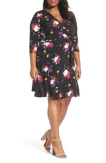 plus size women's leota wrap dress, size 3x - black