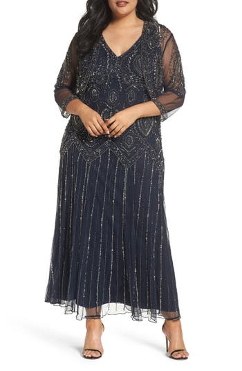 Plus Size Pisarro Nights Beaded V-Neck Gown & Jacket, Blue