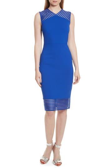 Ted Baker London Lucette Mesh Detail Body Con Dress, Blue