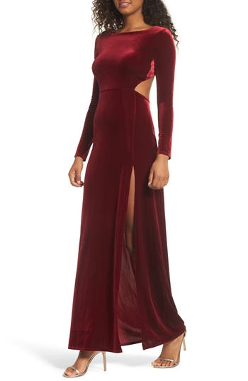 Lulus Besame Long Sleeve Velvet Maxi Dress, Red