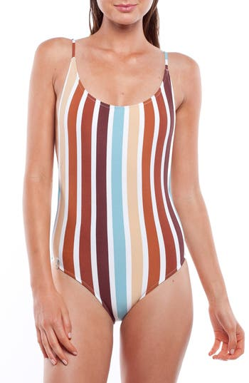 Rhythm Stripe One-Piece Swimsuit, Blue