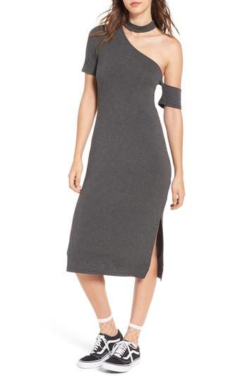 Everly Gigi Asymmetrical Choker Dress, Grey