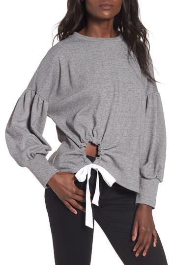 June & Hudson Balloon Sleeve Tie Sweatshirt, Grey