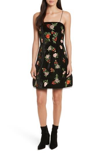 Alice + Olivia Launa Embroidered Velvet Dress, Black