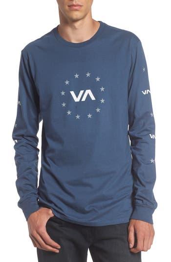 Rvca Star Circle Graphic T-Shirt, Blue