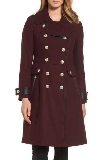 Women's Guess Wool Blend Military Coat, Size Small - Burgundy