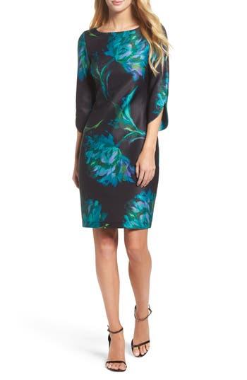 Gabby Skye Floral Print Shift Dress, Blue