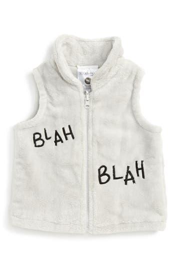 Infant Sookibaby Blah Blah Blah Fleece Vest, Size S (6-12m) - Grey