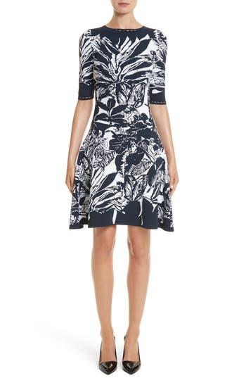Oscar De La Renta Jungle Intarsia Knit Dress, Blue