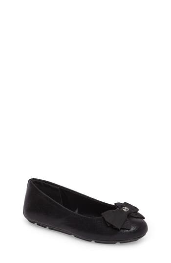 Girl's Michael Michael Kors Rover Penny Bow Flat, Size 5 M - Black