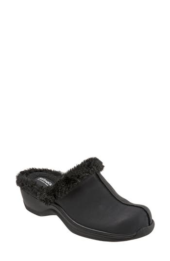 Softwalk Abigail Clog With Faux Shearling Trim N - Black