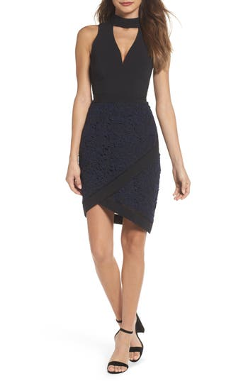 Adelyn Rae Choker Sheath Dress, Black