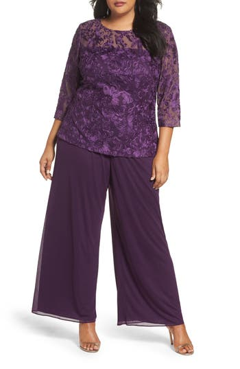Plus Size Women's Alex Evenings Embroidered Top & Chiffon Pants