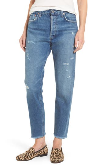 Agolde Jamie High Rise Classic Jeans, Blue