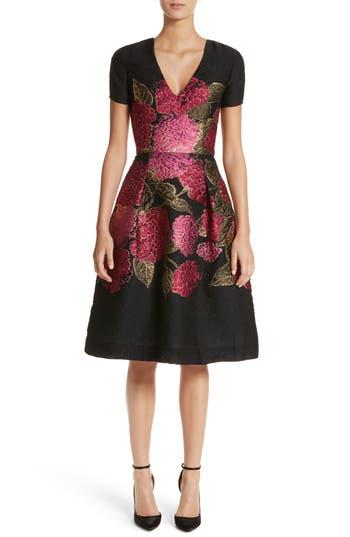 Carolina Herrera Embroidered Brocade Fit & Flare Dress, Black
