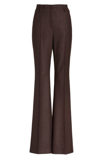 Akris Farrah Stretch Wool Flare Pants, Brown